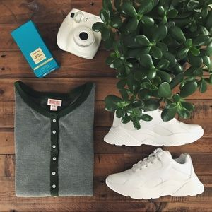 Waffle-Knit Henley Top